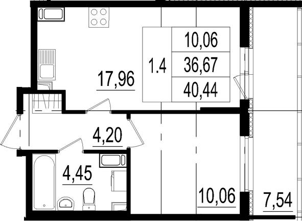 2Е-комнатная, 36.67 м²– 2