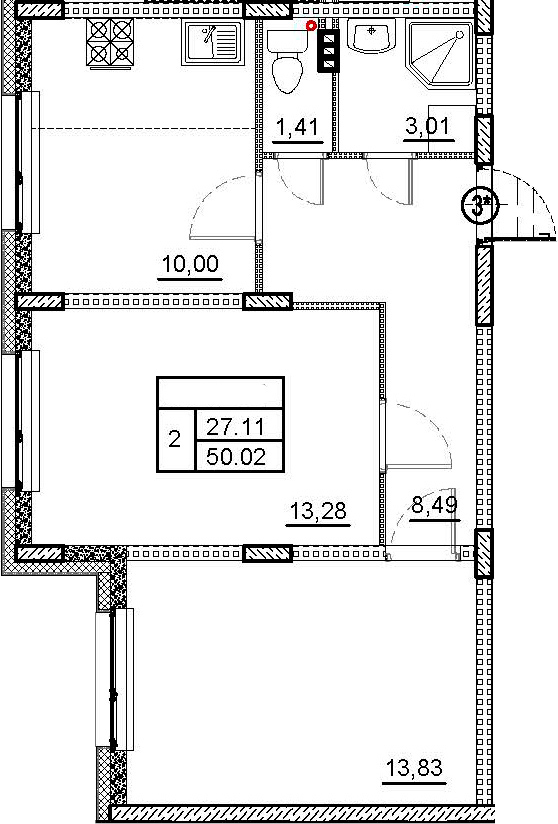 2-к.кв, 50.02 м²