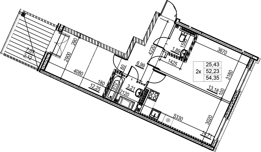 2-комнатная, 54.35 м²– 2