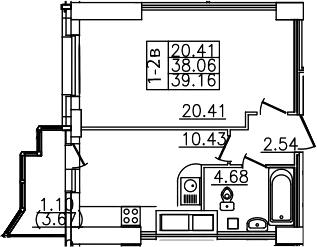 1-комнатная, 39.16 м²– 2
