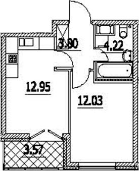 1-к.кв, 36.57 м²