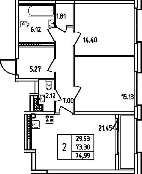 3Е-комнатная, 74.99 м²– 2
