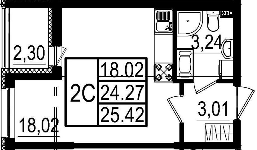 Студия, 24.27 м², 4 этаж