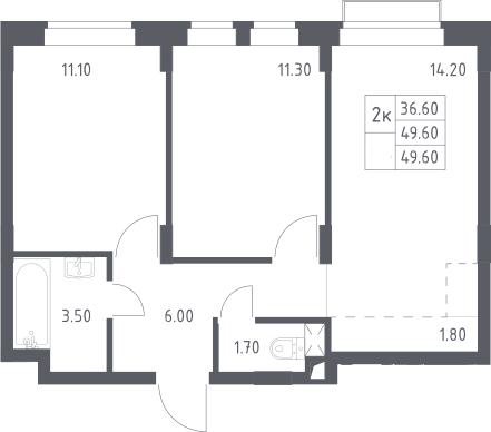 3Е-к.кв, 49.6 м², 2 этаж