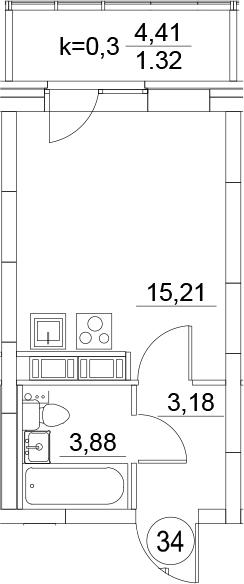 Студия, 26.67 м²