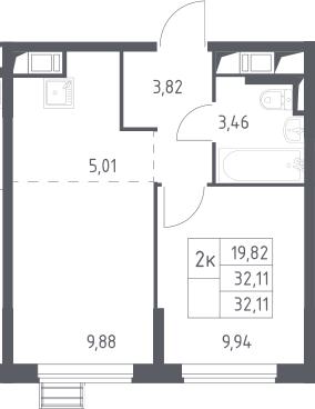 2Е-к.кв, 32.11 м²