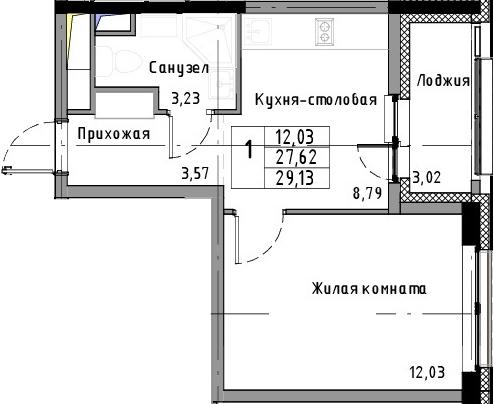 1-к.кв, 29.13 м²
