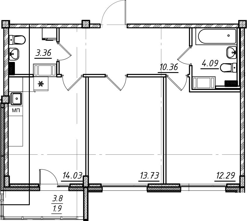 2-комнатная, 59.76 м²– 2