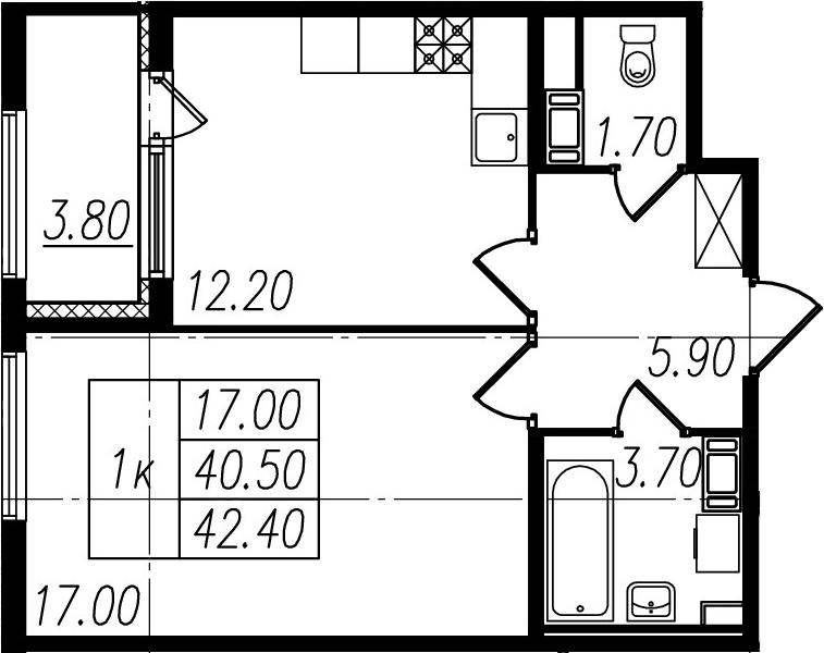 1-к.кв, 40.5 м², 4 этаж
