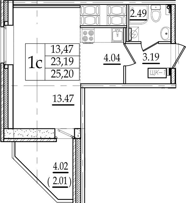Студия, 25.2 м²– 2