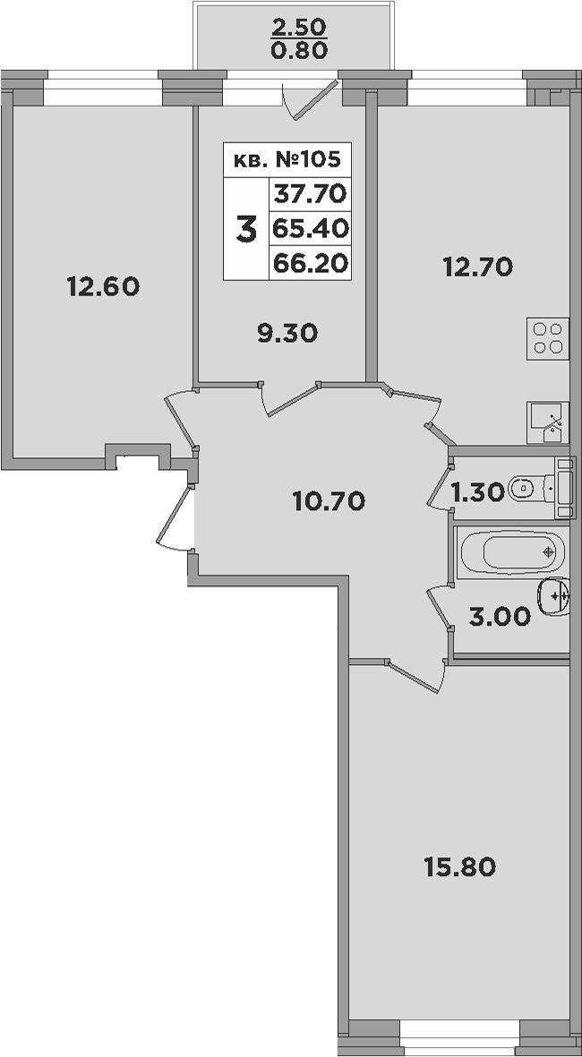 3-к.кв, 67.9 м²