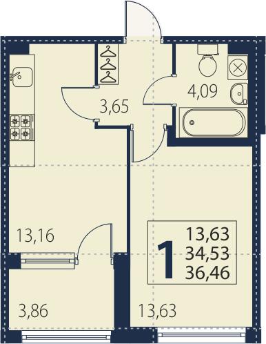 1-к.кв, 38.39 м²