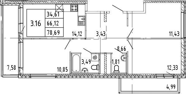 4Е-к.кв, 71.41 м²