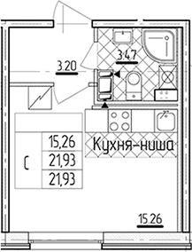 Студия, 21.93 м²