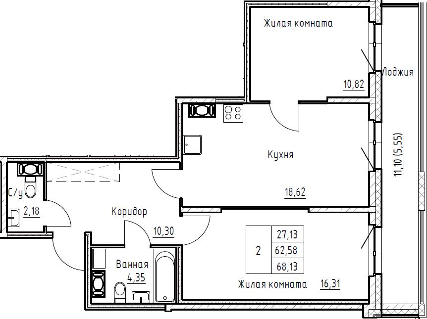 3Е-к.кв, 68.13 м², от 4 этажа
