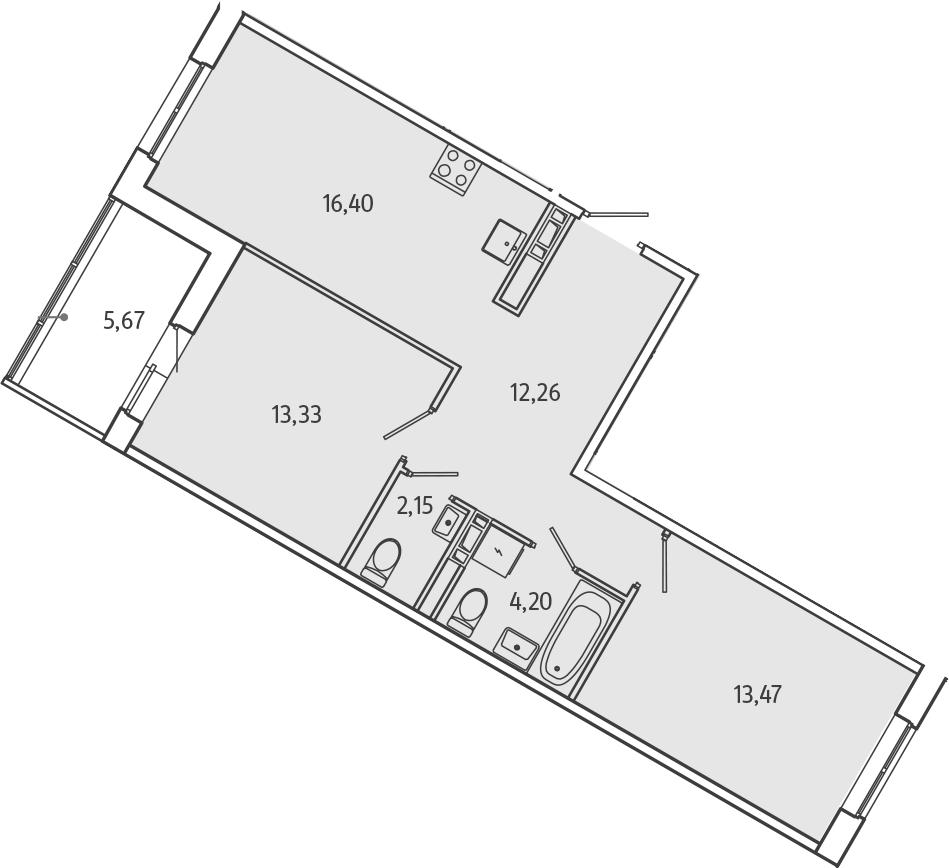 3Е-к.кв, 64.65 м², от 4 этажа