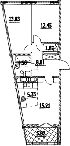 3Е-комнатная квартира, 64.99 м², 3 этаж – Планировка