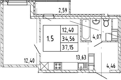 2Е-комнатная, 37.15 м²– 2