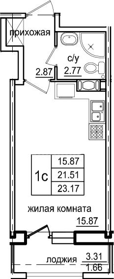 Студия, 23.17 м², 7 этаж