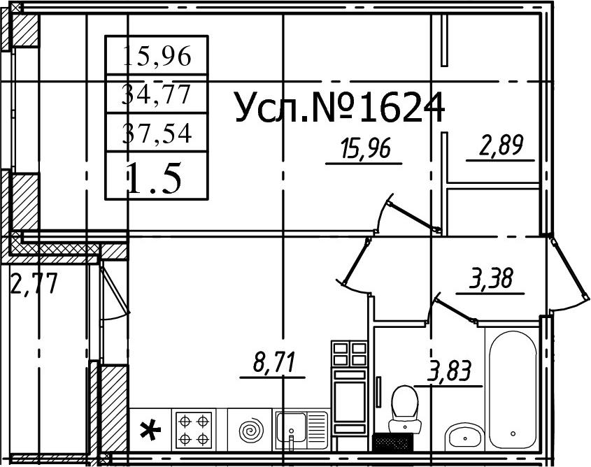 1-комнатная, 34.77 м²– 2