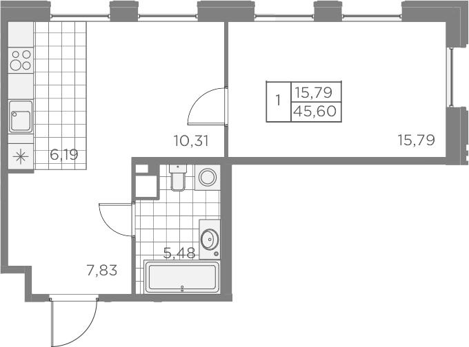 2Е-к.кв, 45.6 м², 2 этаж