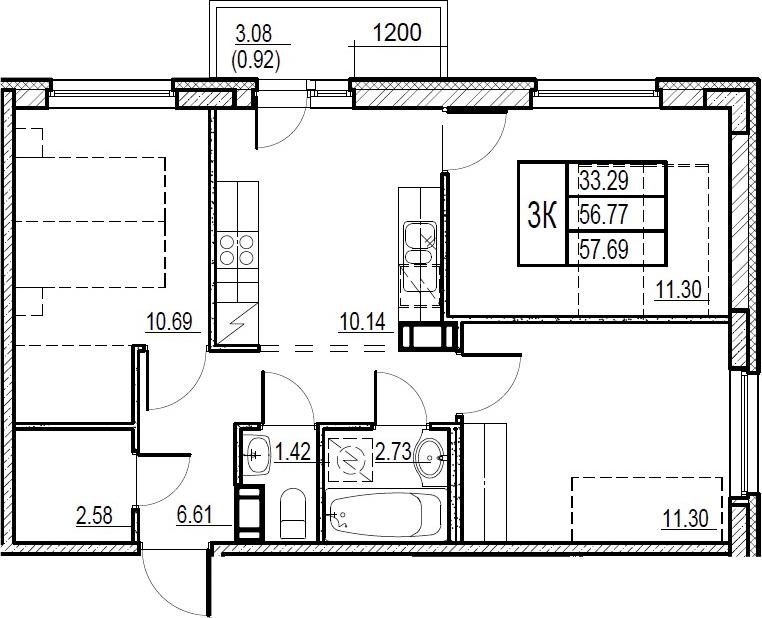 3-комнатная, 57.69 м²– 2