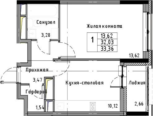1-к.кв, 33.36 м², 3 этаж