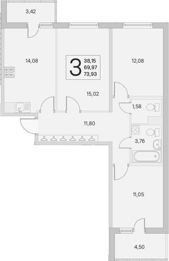 3-к.кв, 69.97 м²