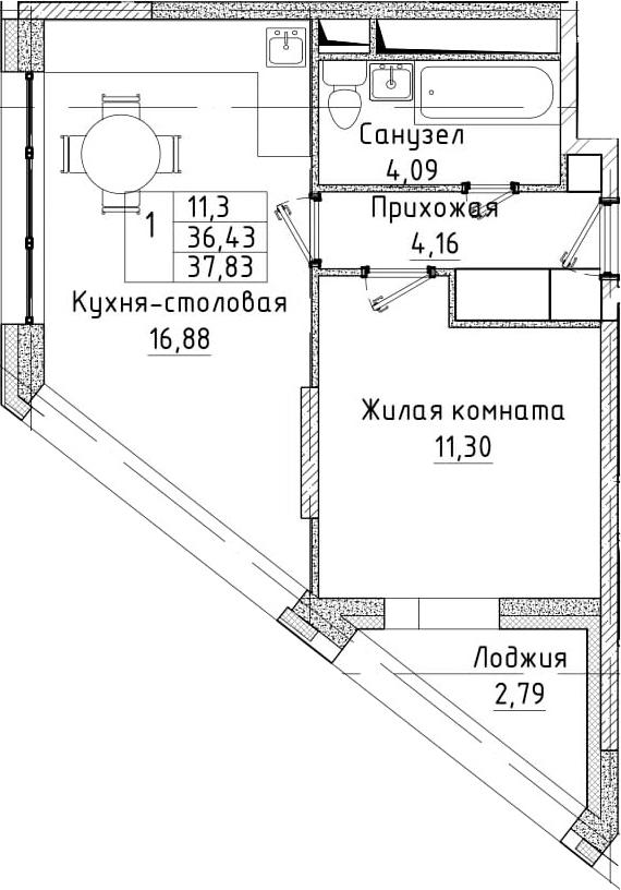 2-к.кв (евро), 39.22 м²