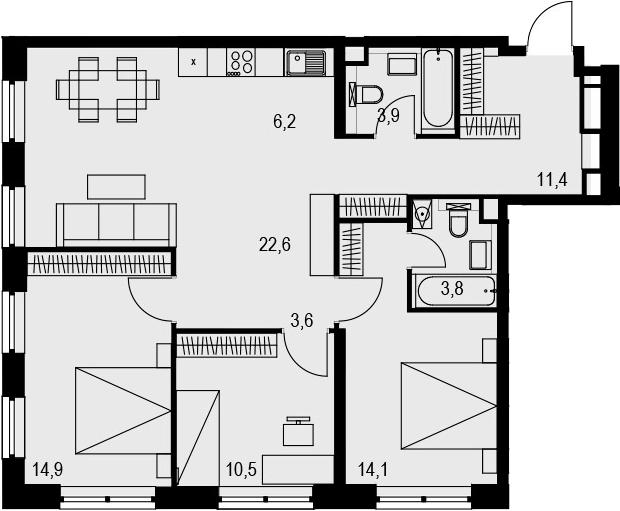 4Е-к.кв, 91 м², 15 этаж