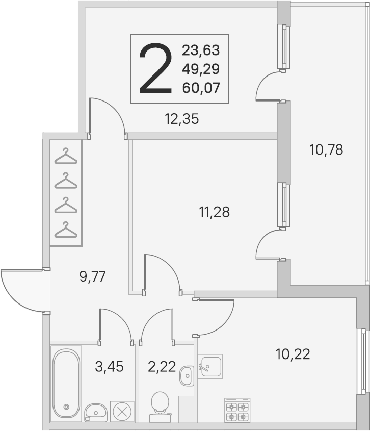 2-комнатная, 49.29 м²– 2