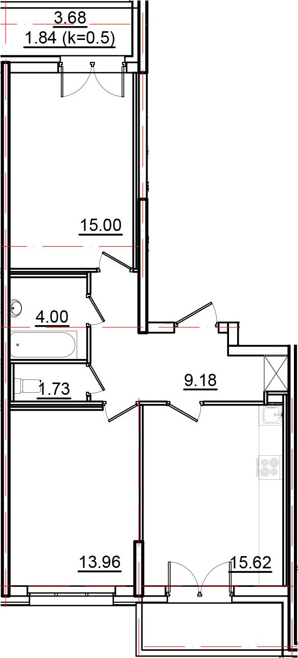 3-к.кв (евро), 67.23 м²