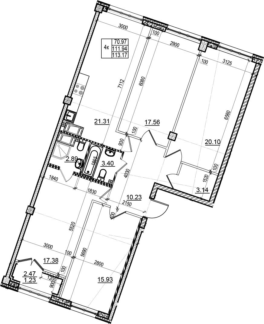 4-к.кв, 113.17 м²