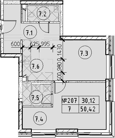 2Е-к.кв, 50.42 м², 22 этаж