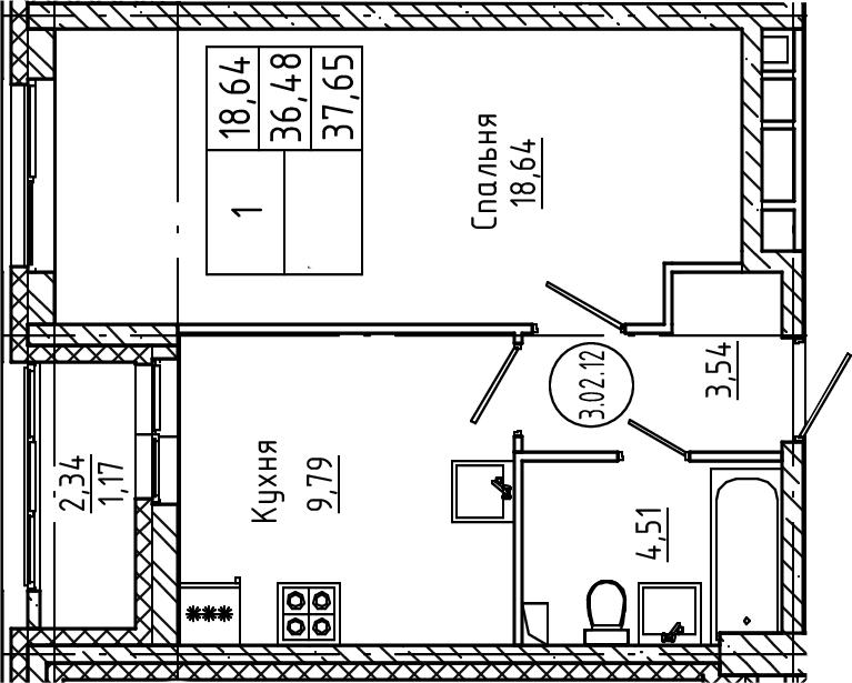 1-комнатная, 37.65 м²– 2