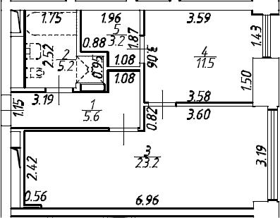 2Е-комнатная, 49.65 м²– 2