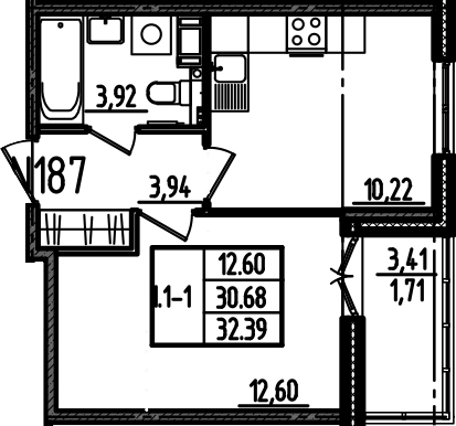 1-к.кв, 32.39 м²