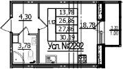 Студия, 26.86 м², 1 этаж
