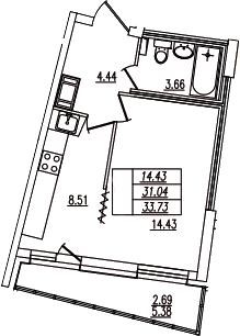 1-комнатная, 33.73 м²– 2