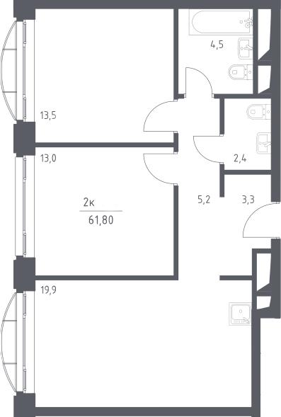 3Е-к.кв, 61.8 м², 17 этаж