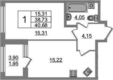 1-к.кв, 38.73 м², 2 этаж