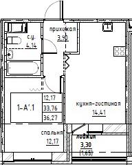 2Е-комнатная, 36.27 м²– 2