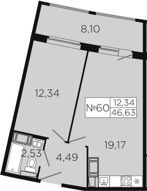 2-к.кв (евро), 65.53 м²