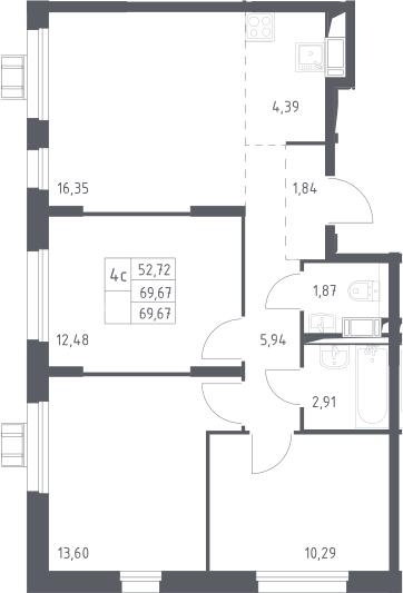 4Е-комнатная, 69.67 м²– 2