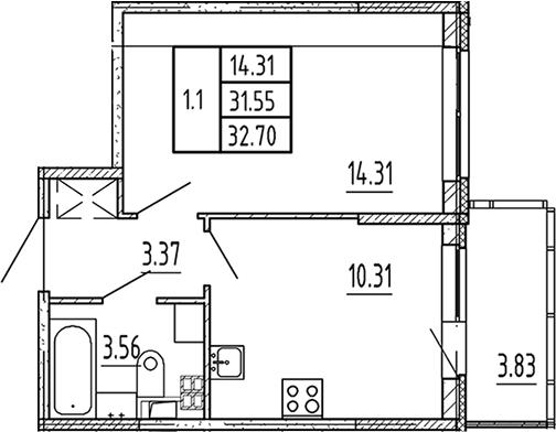 1-комнатная, 31.55 м²– 2