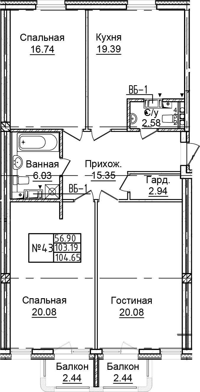 4-к.кв (евро), 108.07 м²