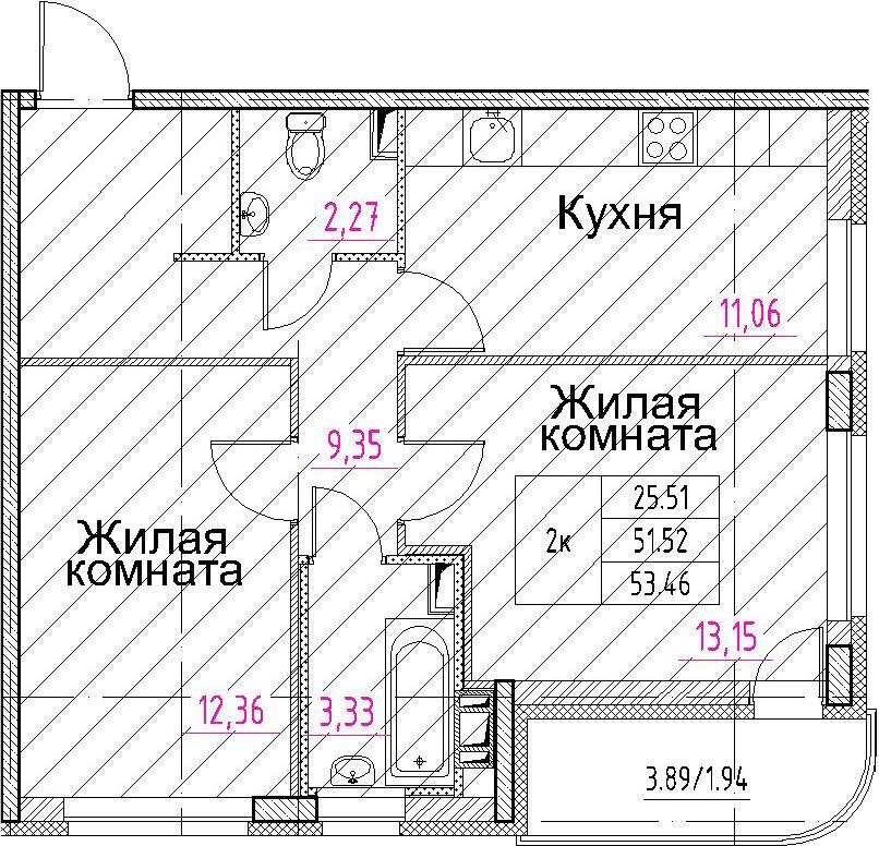 2-комнатная, 53.46 м²– 2