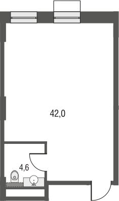 Своб. план., 44.8 м², 3 этаж