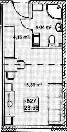 Студия, 23.59 м²