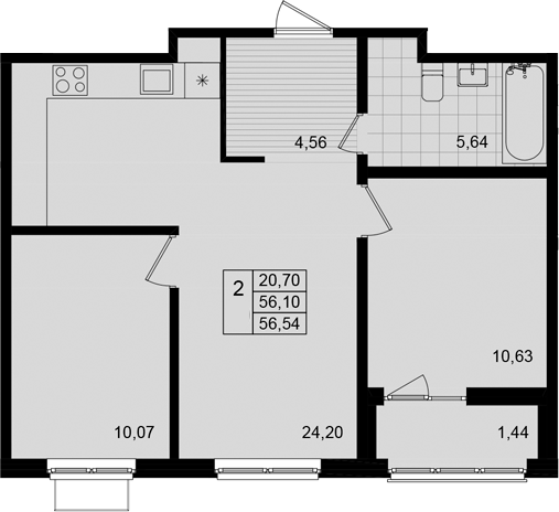 3Е-к.кв, 56.54 м²
